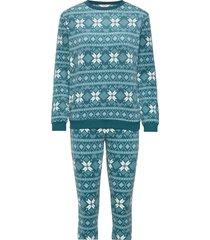 pj micro fleece fairisle pyjamas blå hunkemöller