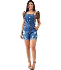 macaquinho jeans curto jardineira retrã´ - ewf jeans - azul escuro - azul - feminino - dafiti