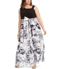 r & m richards plus size solid & floral-print gown