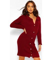 polo collar rib knit dress, berry
