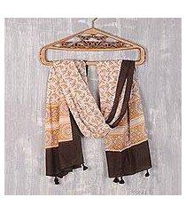 block-printed cotton scarf, 'saffron garden' (india)