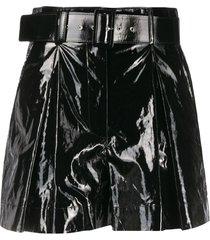 msgm shiny faux-leather shorts - black