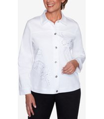 alfred dunner petite anchor's away rope-embroidered jacket