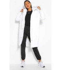 longline hooded puffer jacket, ecru