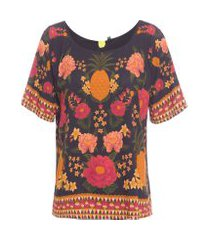t-shirt feminina paraíso dos abacaxis - preto