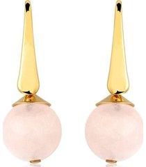 brinco toque de joia bola quartzo rosa com zircônias ouro amarelo