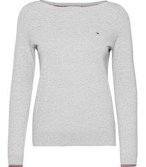 boat neck sweater stickad tröja grå tommy hilfiger