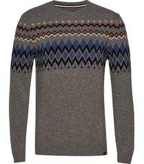 lambswool jacquard knit gebreide trui met ronde kraag grijs lindbergh