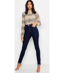 tall skinny jeans met hoge taille, donkerblauw