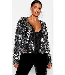 plus large sequin crop jacket, silver