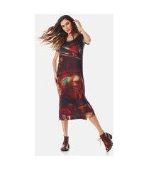 vestido yacamim camisetão multicolorido