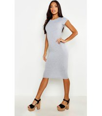 cap sleeve jersey bodycon midi dress, grey marl