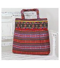 cotton shoulder bag, 'rainbow charm' (india)
