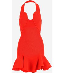 alexander mcqueen designer dresses & jumpsuits, red stretch knit cotton women's mini dress