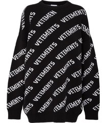 diagonal all-over logo knit wool cashmere blend sweater