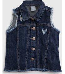colete jeans hering kids infantil liso azul - azul - menina - algodã£o - dafiti