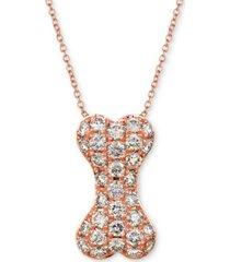 "le vian nude diamond dog bone 20"" pendant necklace (1 ct. t.w.) in 14k rose gold"