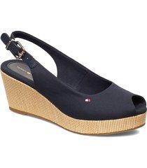 iconic elba sling back wedge sandalette med klack espadrilles svart tommy hilfiger
