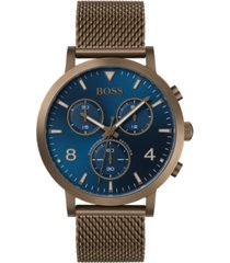 boss men's chronograph spirit khaki stainless steel mesh bracelet watch 41mm