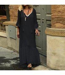 zanzea vestido largo de manga larga acampanada para mujer vestido largo con dobladillo plisado de gran tamaño -negro