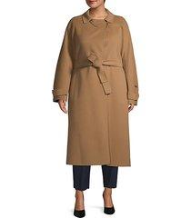 plus belted long wool coat