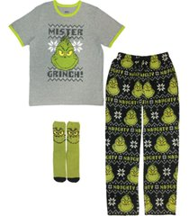 the grinch 3 pieces men's pajama set, online only