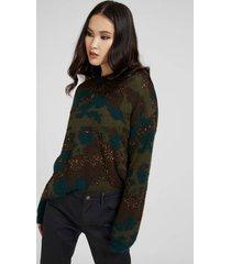 sweter camouflage z domieszką wełny
