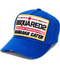 dsquared2 embroidered logo-patch distressed baseball cap - blue