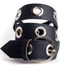 cinturón negro la vie est belts front hebilla redonda