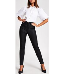 river island womens black coated hailey high rise skinny jeans