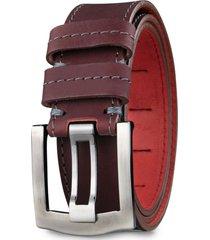 cinturón cuero genuino ostin rojo vino miura
