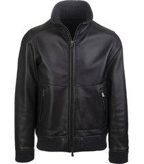 black leather man bomber jacket
