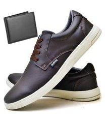 tênis sapatênis casual fashion com carteira masculino dubuy 1401el marrom