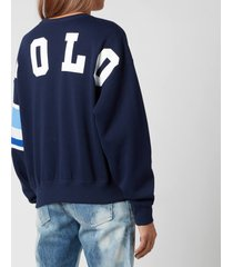 polo ralph lauren women's large polo logo relaxed fit sweatshirt - cruise navy - s