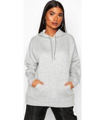 petite fleece basic hoodie, grey