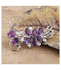amethyst brooch, 'purple bouquet' (india)