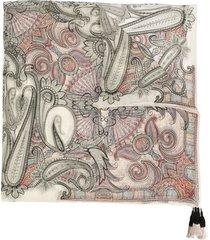 etro paisley print tassel scarf - neutrals