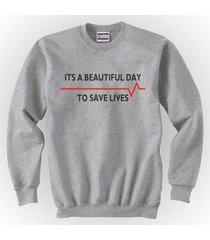 its a beautiful day to save lives greys anatomy crewneck sweatshirt s-3xl grey