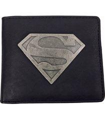 dc comics - mens black superhero superman logo pu faux leather bifold wallet