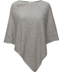 triangle cable poncho poncho regnkläder grå davida cashmere