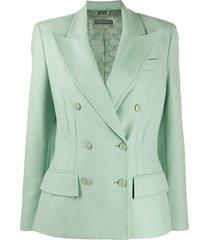 alberta ferretti long-sleeved dart detail blazer - green
