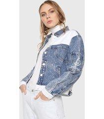 chaqueta azul-blanco desigual