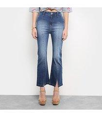 calça jeans flare colcci gisele cropped cintura alta feminina