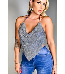 akira am what i am sparkly halter top