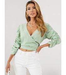 yoins blusa de manga larga con pliegues y cuello en v profundo con diseño cruzado
