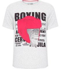 camiseta masculina boxing monkey - cinza mescla