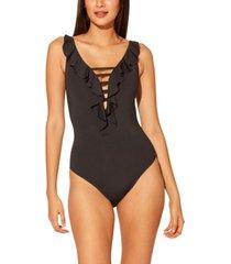 bleu by rod beattie lace-down one-piece swimsuit women's swimsuit