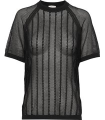 cotton mesh knit top t-shirts & tops short-sleeved svart filippa k soft sport