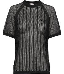 cotton mesh knit top t-shirts & tops short-sleeved svart filippa k soft sport