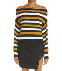 women's monse women's stripe off the shoulder merino wool crop sweater, size medium - orange